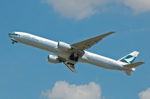 A cathay Pacific plane taking off from Hong Kong Airport