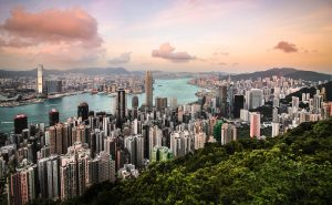 A view over the Hong Kong with skyscrapers and greenery