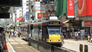 A tram in the centre of the city, Hong Kong
