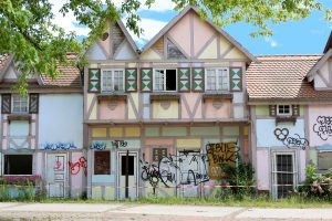 Colourful Fake houses with graffiti at an abandoned theme park in Berlin