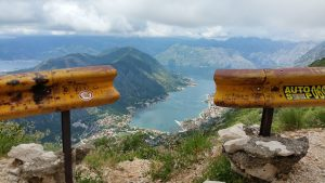 View from up high looking over the bay in Montenegro