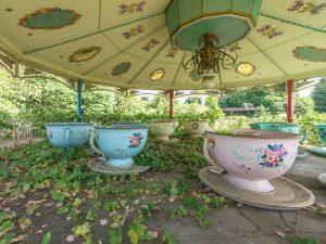 Broken tea cup ride at an abandoned theme park in Nara, Japan