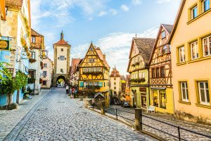 A romantic cobbled street with beautiful architecture and german styled roofing
