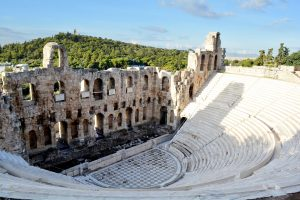 Ruins of a stage in athens greece