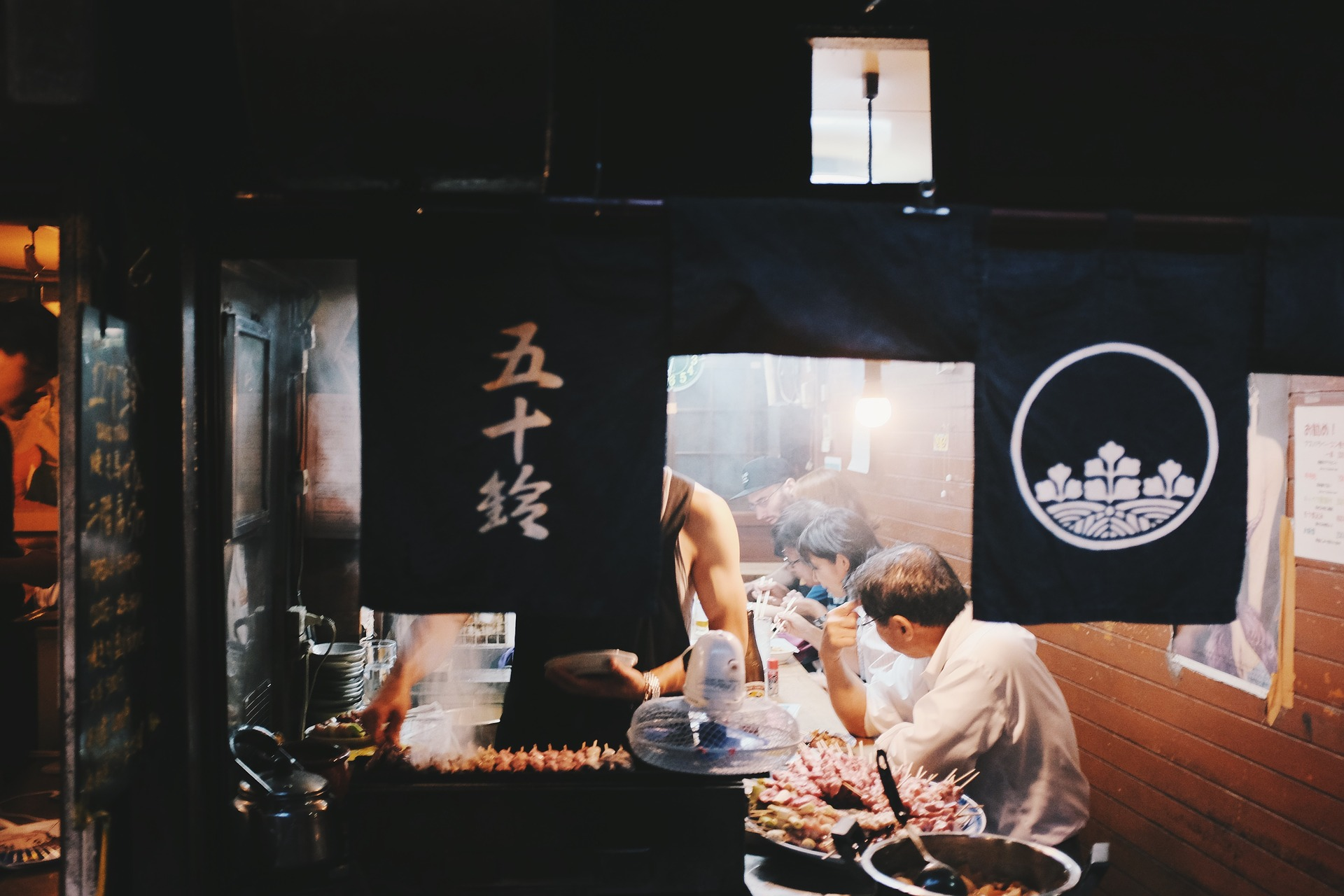 A yakitori food stall somewhere in Japan