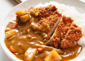 Katsu Kare, A japanese style curry with fried cutlet, rice and pickled ginger