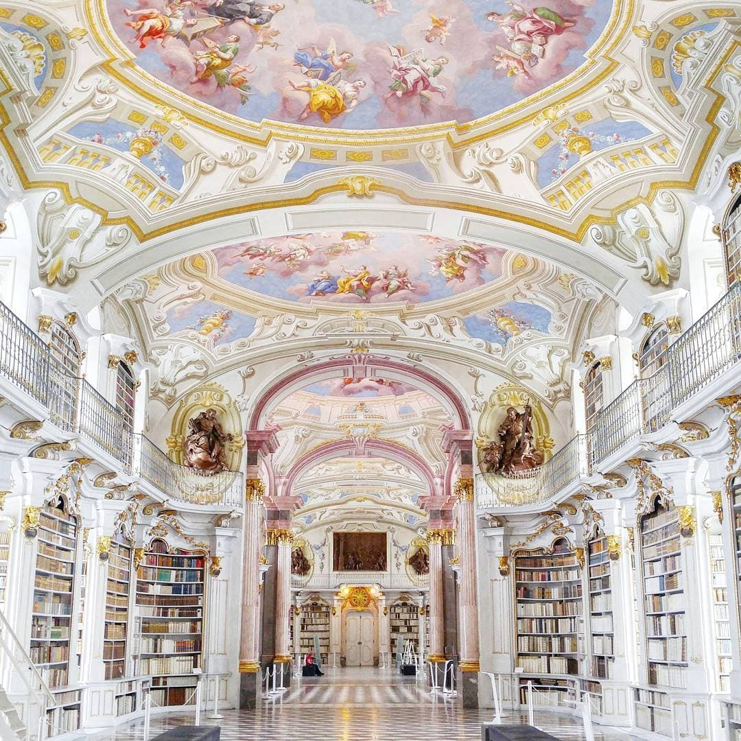 Impressive library with celling painting