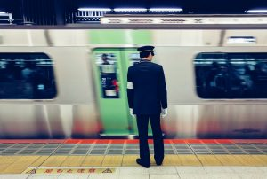 A station attendant in Tokyo