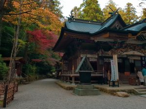 A japanese shrine in Nagatoro surrounded by autumn foliage