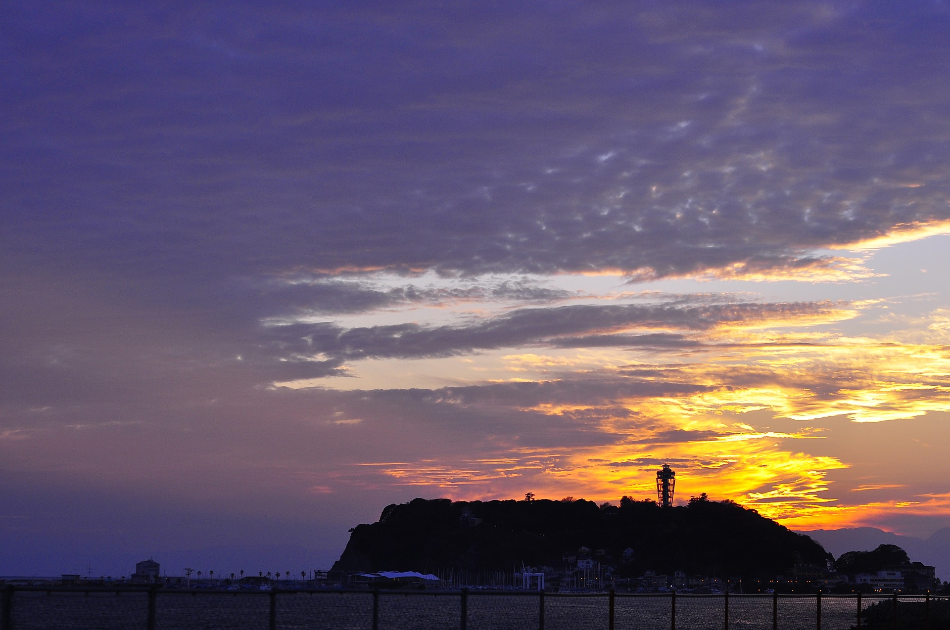Sunset with enoshima island in the background